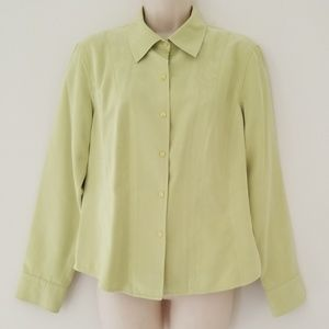 Talbots Petites Womens Chartreuse Blouse Size M